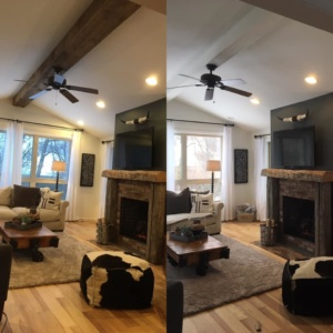 Wood Beam After (Left) Before (Right)